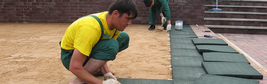 Укладка резиновой плитки и брусчатки EcoSpline